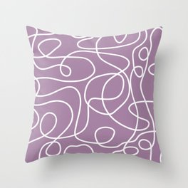 Doodle Line Art | White Lines on Soft Purple Throw Pillow