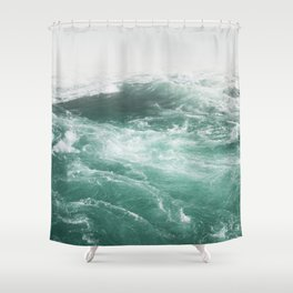 Water Turquoise | Fog | Wave Shower Curtain