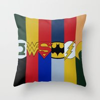 justice league Throw Pillows featuring Justice Logo's by iankingart
