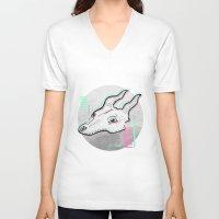 glitch V-neck T-shirts featuring Glitch by Sonia Lazo
