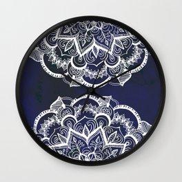 White Feather Mandala on Navy Wall Clock