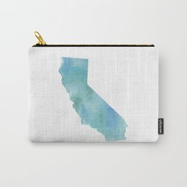 Watercolor State Map - California CA blue green Carry-All Pouch