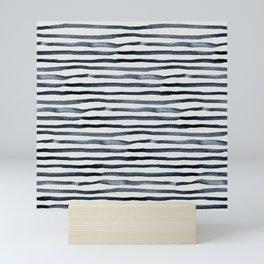 Simply Shibori Stripes Indigo Blue on Lunar Gray Mini Art Print