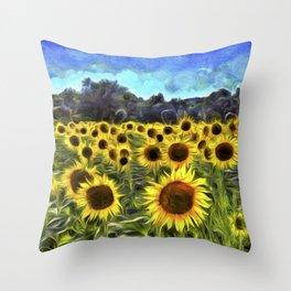Sunflower Fields Of Dreams Van Goth Throw Pillow