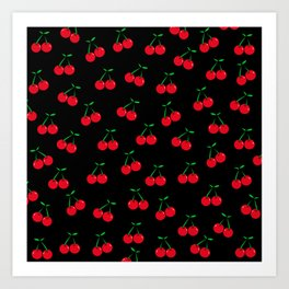 Cherries 2 (on black) Art Print