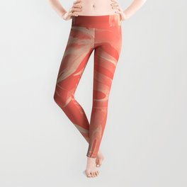 Living Coral Tropical Palm Leaves Monstera Leggings