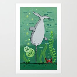 Narwhale Handstand Art Print