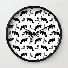 Manatee linocut black and white minimal pattern nature art manatees Wall Clock