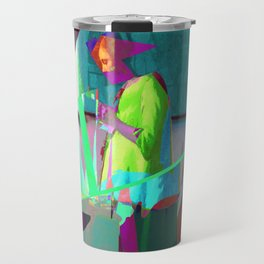 Woman in Blue Reading (remix) Travel Mug