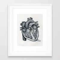 anatomical heart Framed Art Prints featuring Anatomical Heart by Maria G. Vieyra Ortiz