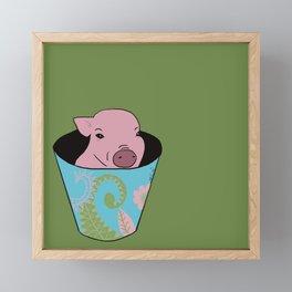 Chris P Bacon Piglet In A Bucket Framed Mini Art Print
