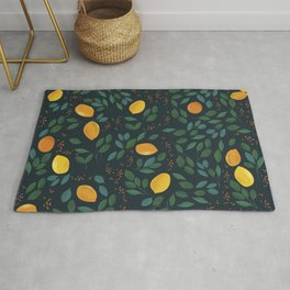 Vintage happy yellow lemon branches hand drawn illustration pattern Rug