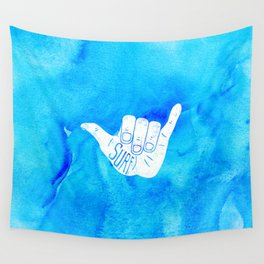 Surf Hang Loose Hawaiian Ocean Blue Hip Watercolor Wall Tapestry