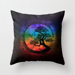Enso Zen Circle and Bonsai Tree Nebula Throw Pillow