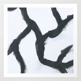 Cracking, Abstract, Black & White Art Print