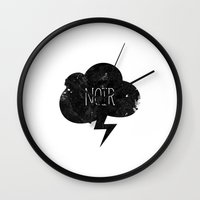 noir Wall Clocks featuring Noir by Spades