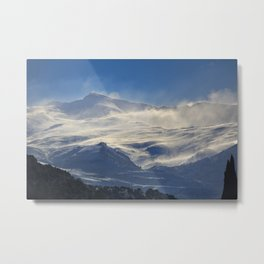 """Brave mountains"". Into the windy storm Metal Print"