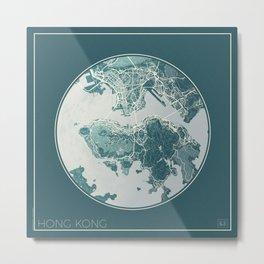 Hong Kong Map Planet Metal Print