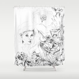 Flowers And Dreamscapes {1}: Black and White Shower Curtain