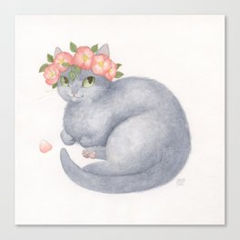 Flower Cat - Grey With Pink Canvas Print