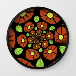 The Red Flower Polka Wall Clock