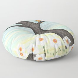 Orioles and daffodils Floor Pillow