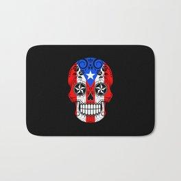 Sugar Skull with Roses and Flag of Puerto Rico Bath Mat