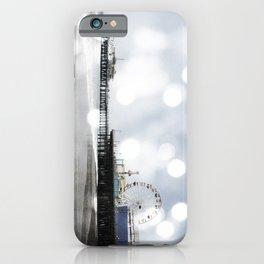 Sparkling grey Santa Monica Pier iPhone Case