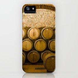 Oak Barrels in Chianti Wine Cellar, Italy iPhone Case