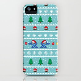 Christmas Pixel Megaman pattern iPhone Case