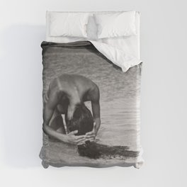 Nothing but tan lines, ocean, & beach female form black and white photography Duvet Cover