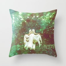 Green Forest - Magical Fairy Tale Princess Path Throw Pillow