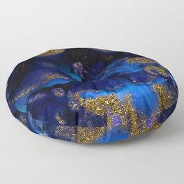 Gold and Indigo Malachite Marble Floor Pillow