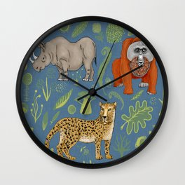 endangered animals, black rhino, amur leopard, bornean orangutan Wall Clock