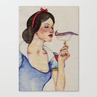snow white Canvas Prints featuring Snow White by The White Deer