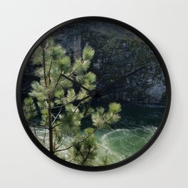 Sunny River Canyon With Churning Water and Pine Tree Wall Clock