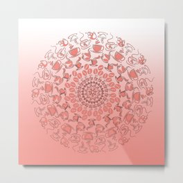Living coral coffee mandala No1 Metal Print