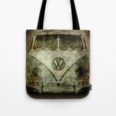 Classic micro bus with battle scars and distressed patina Tote Bag