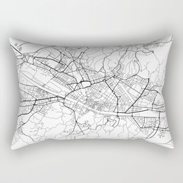 Florence Map, Italy - Black and White Rectangular Pillow