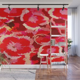 Pc painted design red pink flowers Wall Mural