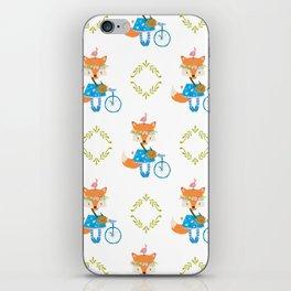 Girl Fox with Bike Pattern iPhone Skin