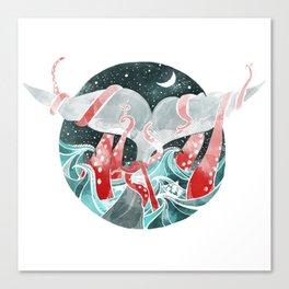 Moby Dick versus Kraken Canvas Print