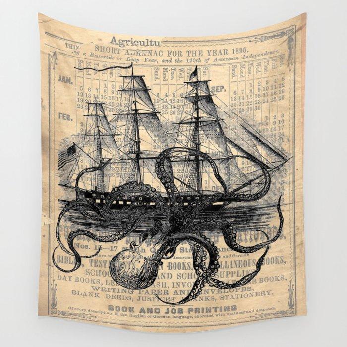 Octopus Kraken attacking Ship Antique Almanac Paper Wandbehang
