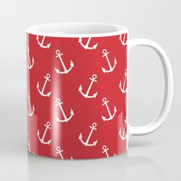 Nautical modern red white trendy anchor pattern Coffee Mug