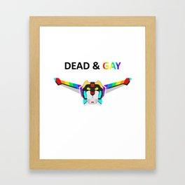 Dead and Gay Black Lion Dark Text Framed Art Print