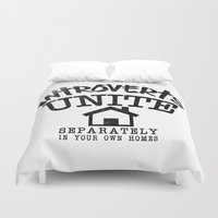 psychology Duvet Covers featuring Introverts Unite! by Rendra Sy