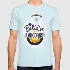 I believe in Unicorns Mens Fitted Tee SMALL Light Blue