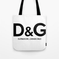 dumbledore Tote Bags featuring Dumbledore & Grindelwald by Christina