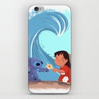 lilo and stitch iPhone & iPod Skins featuring Lilo & Stitch by Orelly