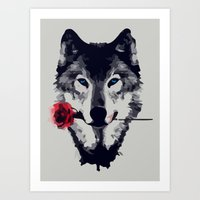 Wolf with rose Art Print